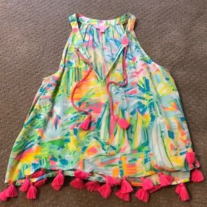 Lily Pulitzer sleeveless blouse with tassels